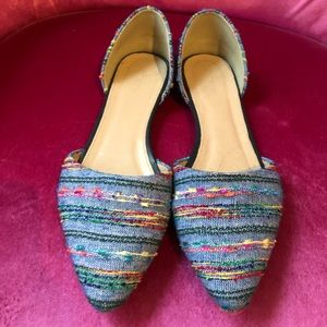J. Crew Denim & Multi-Color Thread D'Orsay Flats